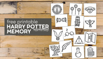 Harry Potter themed memory game with text overlay- free printable Harry Potter memory