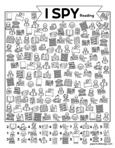 Reading and Library themed I spy activity page to print for free