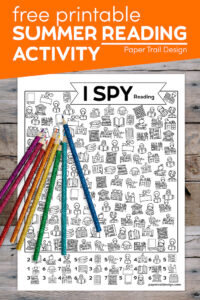Kids activity page to print I spy reading and library with text overlay- free printable I spy summer reading activty