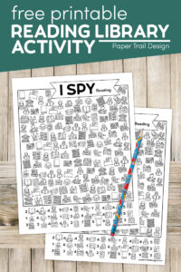 Free printable I spy reading activity pages with pencil with text overlay- free printable I spy reading library activty