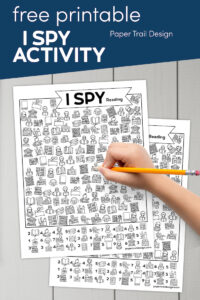 I spy game with reading and library theme to print with text overlay- free printable I spy activty