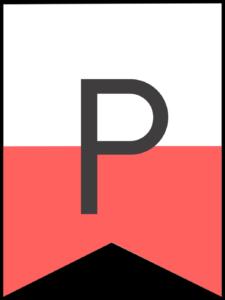 Happy birthday banner pink letter P