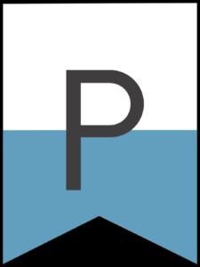 Happy birthday banner blue letter P