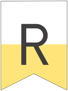 Happy birthday banner yellow letter R