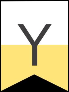 Happy birthday banner yellow letter Y