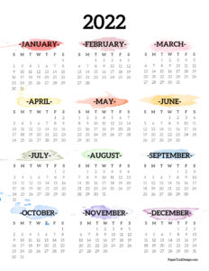 2022 Monday start one page year at a glance calendar with rainbow watercolor