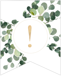 Exclamation point symbol decorative banner letter with gold letter and green leaves