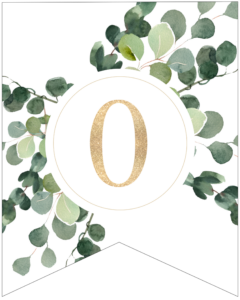 Number 0 decorative banner letter with gold letter and green leaves