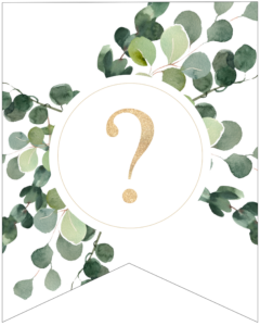 Question mark symbol decorative banner letter with gold letter and green leaves
