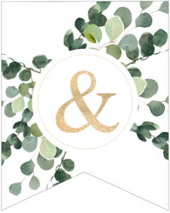Ampersand and sign symbol decorative banner letter with gold letter and green leaves