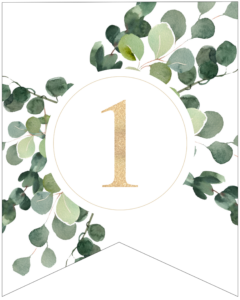 Number 1 decorative banner letter with gold letter and green leaves