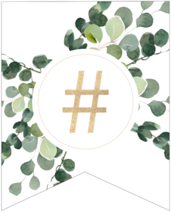 Hashtag symbol decorative banner letter with gold letter and green leaves