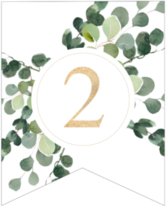 Number 2 decorative banner letter with gold letter and green leaves