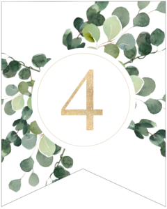 Number 4 decorative banner letter with gold letter and green leaves