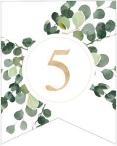 Number 5 decorative banner letter with gold letter and green leaves