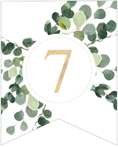 Number 7 decorative banner letter with gold letter and green leaves