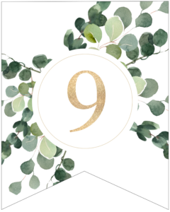 Number 9 decorative banner letter with gold letter and green leaves