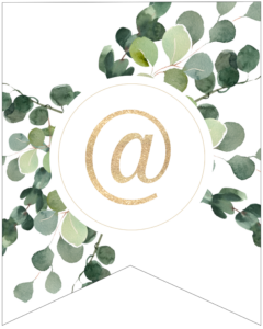 At sign symbol decorative banner letter with gold letter and green leaves