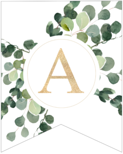 Letter A decorative banner letter with gold letter and green leaves