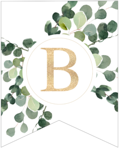 Letter B decorative banner letter with gold letter and green leaves