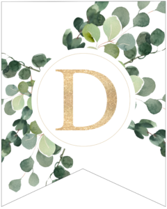 Letter D decorative banner letter with gold letter and green leaves