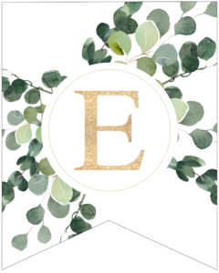 Letter E decorative banner letter with gold letter and green leaves