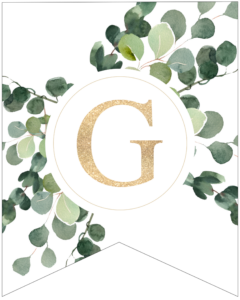 Letter G decorative banner letter with gold letter and green leaves