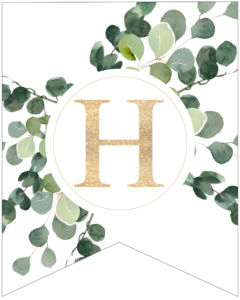 Letter H decorative banner letter with gold letter and green leaves