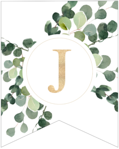 Letter J decorative banner letter with gold letter and green leaves