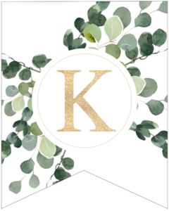 Letter K decorative banner letter with gold letter and green leaves