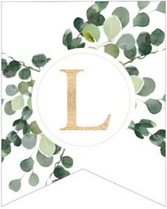 Letter L decorative banner letter with gold letter and green leaves