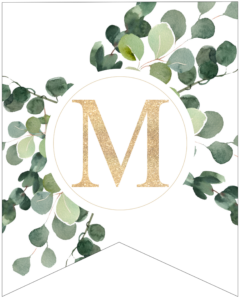 Letter M decorative banner letter with gold letter and green leaves
