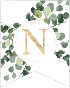 Letter N decorative banner letter with gold letter and green leaves