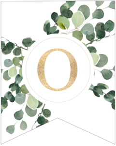 Letter O decorative banner letter with gold letter and green leaves