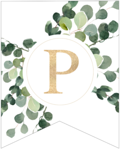Letter P decorative banner letter with gold letter and green leaves