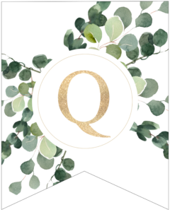 Letter Q decorative banner letter with gold letter and green leaves