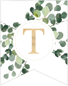Letter T decorative banner letter with gold letter and green leaves