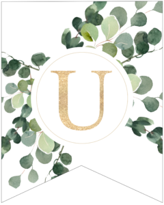 Letter U decorative banner letter with gold letter and green leaves