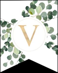Letter V decorative banner letter with gold letter and green leaves