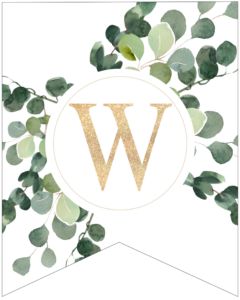 Letter W decorative banner letter with gold letter and green leaves