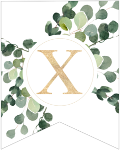 Letter X decorative banner letter with gold letter and green leaves