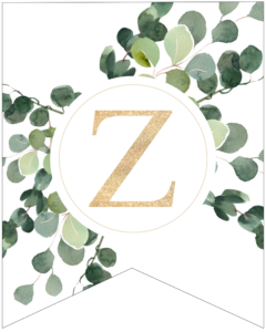 Letter Z decorative banner letter with gold letter and green leaves