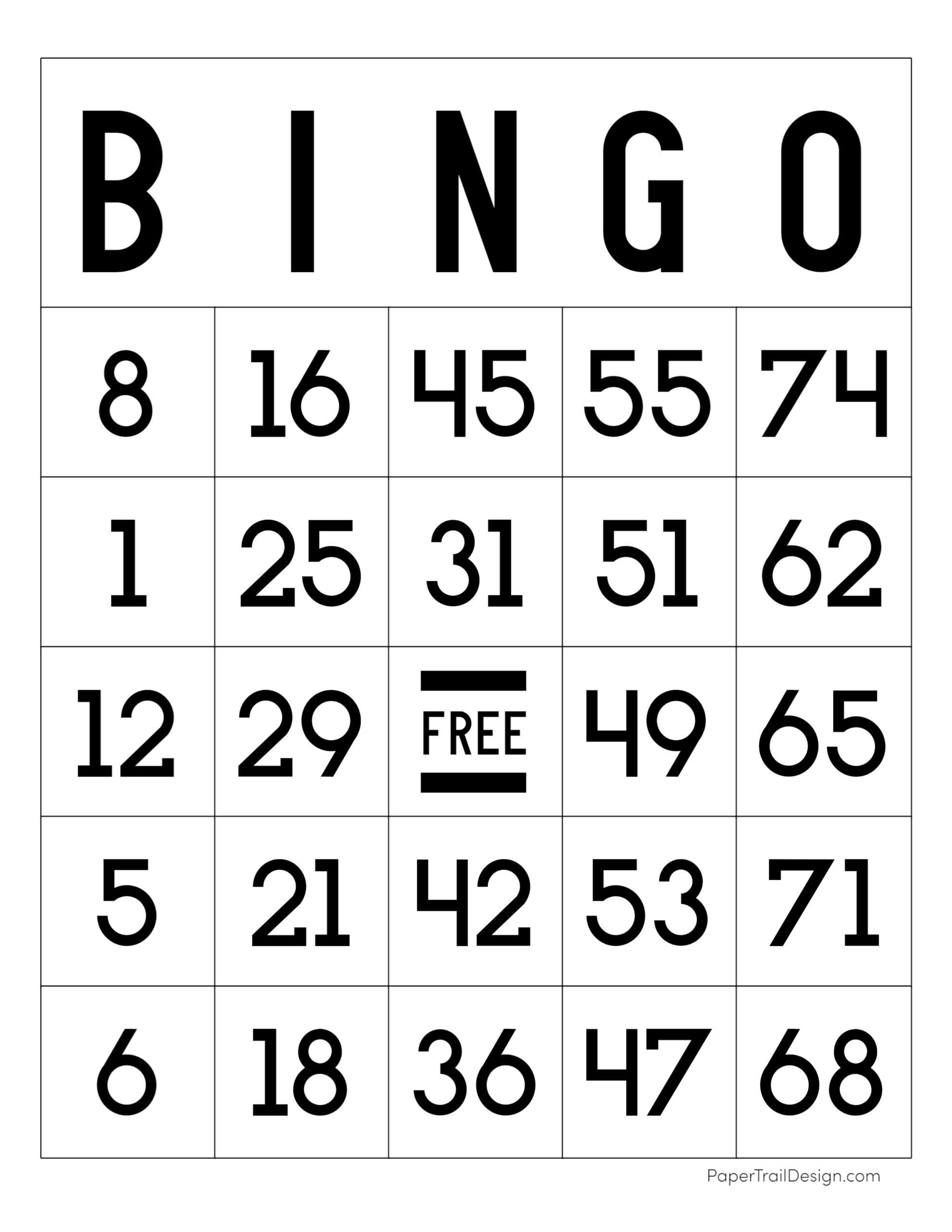 Free Printable Bingo Cards Paper Trail Design