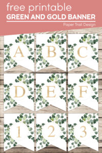 Decorative banner letters A-F and numbers 1-2 with text overlay- free printable green and gold banner