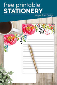 Floral stationery with gold pen and coffee with text overlay- free printable stationery