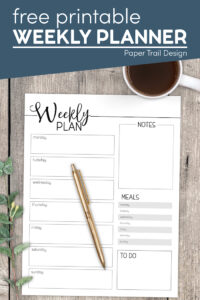 Weekly planner printable page with text overlay- free printable weekly planner