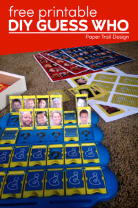 Personalized DIY guess who game with your own pictures with text overlay- free printable DIY guess who