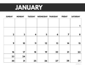 2022 January calendar page free printable with bold letters and numbers