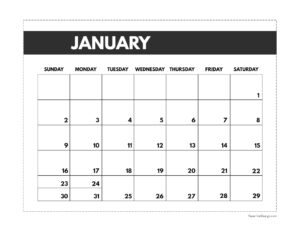 January 2022 classic calendar printable in 7 x 9.25 inch size