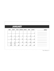 January 2022 classic calendar printable in 4.5 x 7 inches